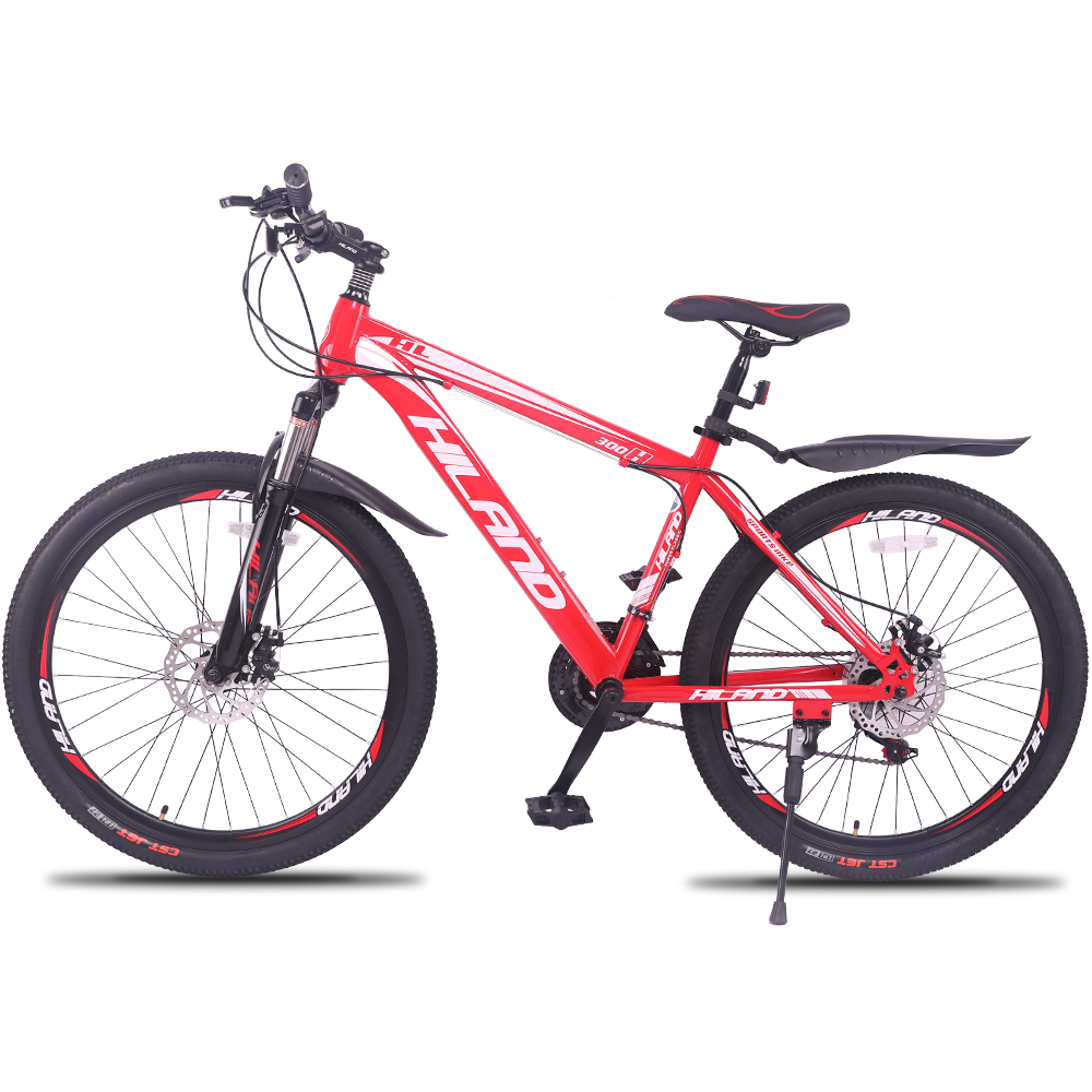Vélo à cadre en acier VTT de 26 pouces avec rupture Shimano et manette de vitesse noir et rouge pour 150-180 cm de hauteur