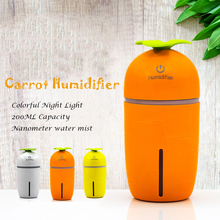 Mini LED Night Light Air Humidifier Carrot USB Diffuser 200ML Capacicty Home /Car/Office Mist Maker Fogger