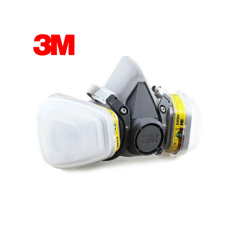 3M 6100+6003 Half Facepiece Reusable Respirator Organic Mask Acid Face Mask Organic Vapor&Acid Gas 7 Items for 1 Set LT051 3m 7501 6005 half facepiece reusable respirator mask formaldehyde organic vapor cartridge 7 items for 1 set xk001