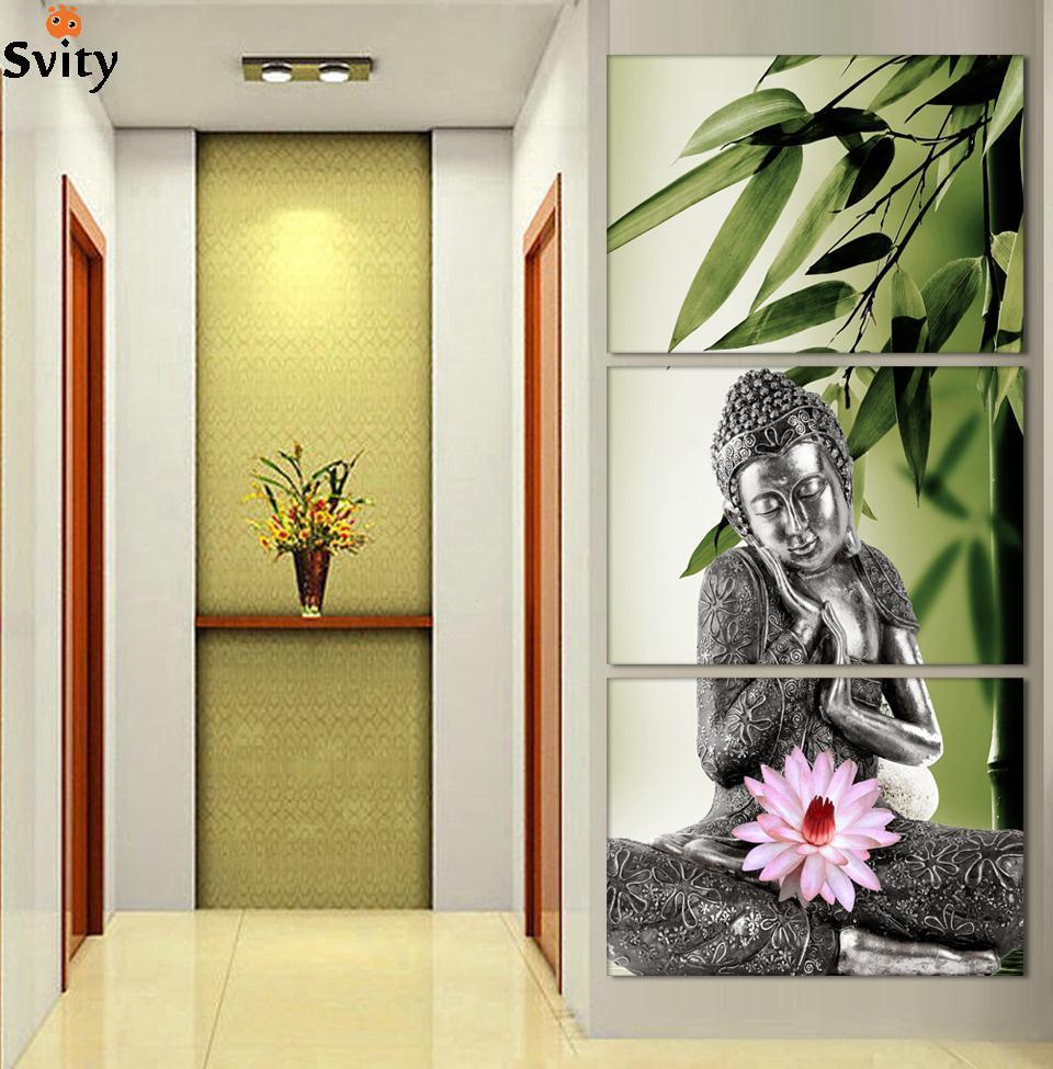 Bamboo Room Decorations: Aliexpress.com : Buy 3 Panel Buddhism Buddha Canvas