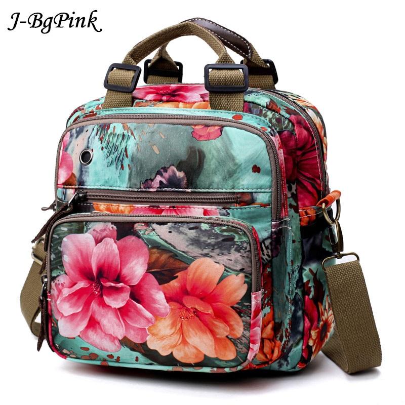 Large Capacity Women Backpack 2019 New Multifunction Rose flowerBackpacks Bags For Waterproof Canvas Backpacks Mochilas