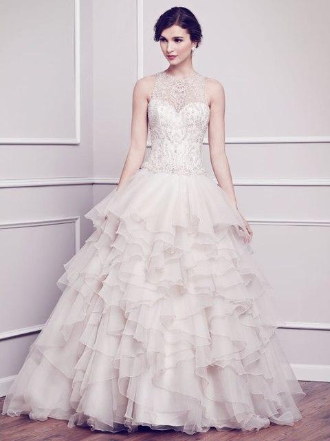 93d0f4131e95dd Flowy trouwjurken cupcake baljurk robe de mariage bak delicate kralen bruidsjurken  organza ruches maat NW3003