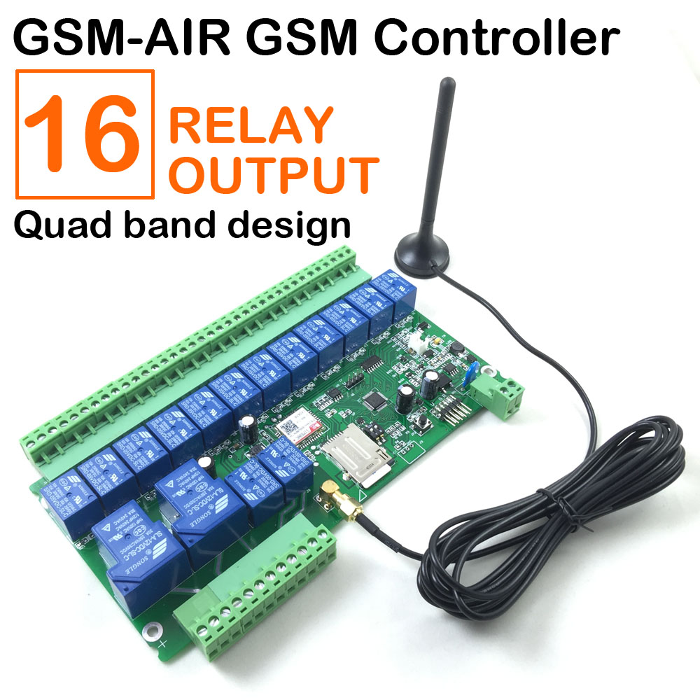 Free shipping 16 Relay Gsm Controller SMS Call Remote Control Relay Switch for Gate Open Water Pump Motor Home Appliances app gsm sms remote controller