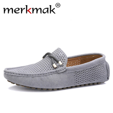 Купить с кэшбэком Summer genuine leather men shoes casual driving shoes leather mocassin soft breathable men flats brand shoes suede men loafers