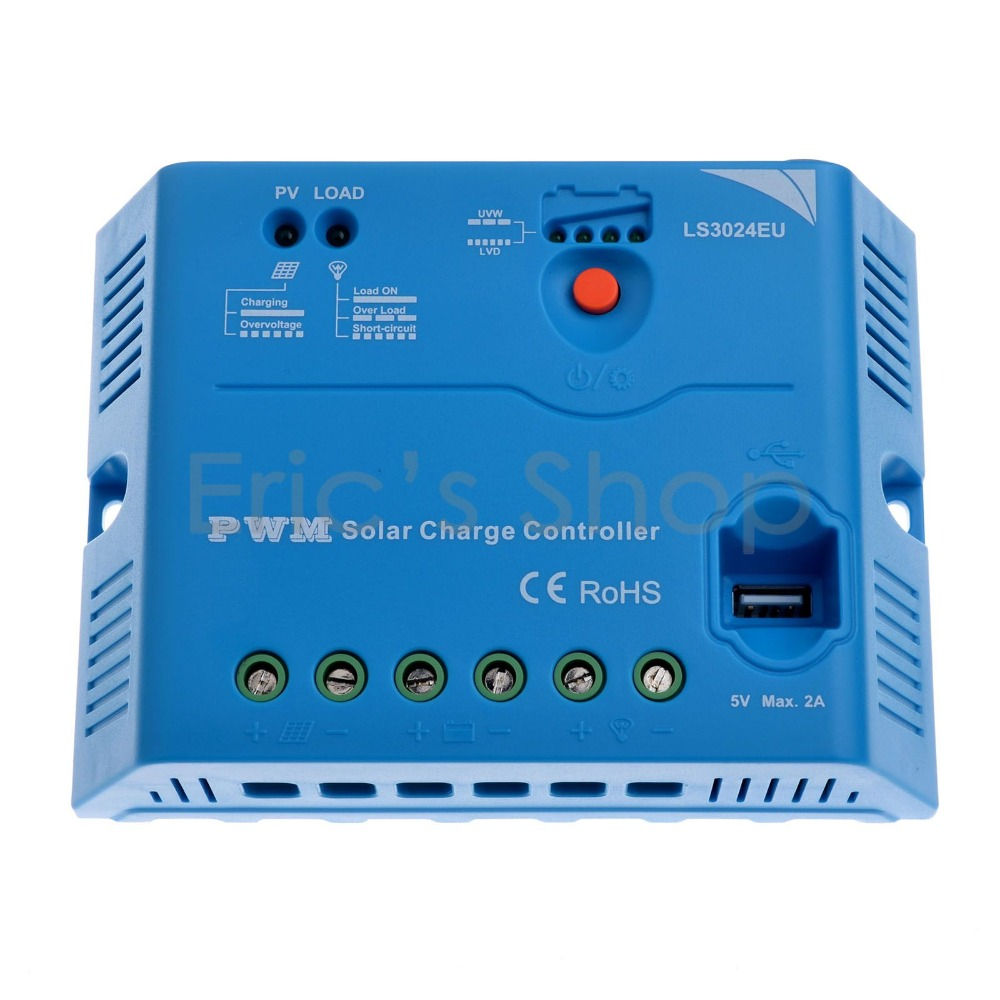 30A PWM Solar Controller 12V/24VDC  With USB 5V2A Output EPSOLAR EPEVER LandStar Series Solar Battery Panel Regulator solar controller 10a12v home charging system with dc led lights usb output silicon series specials