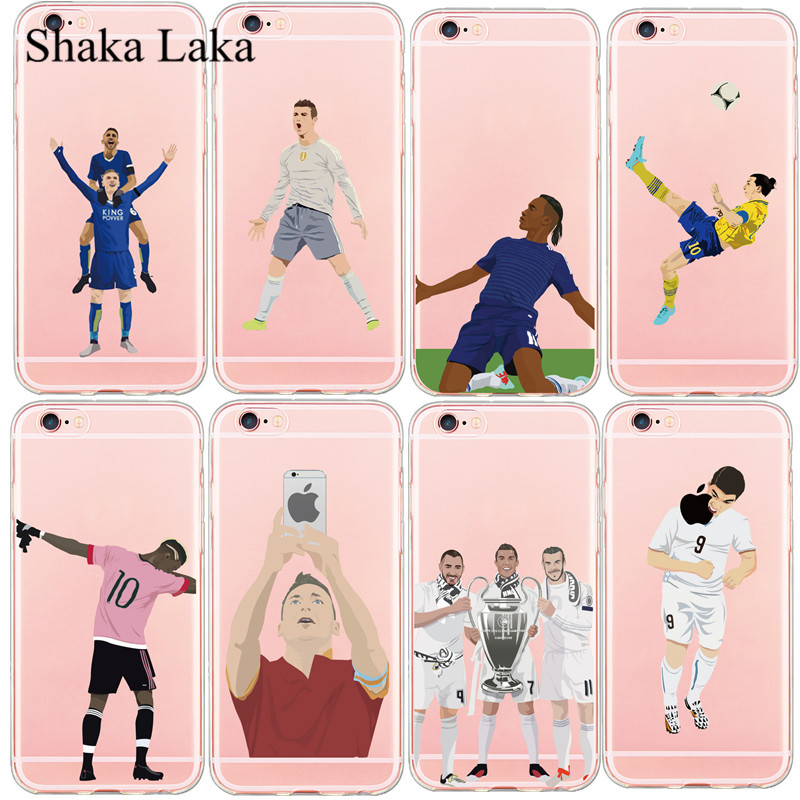 Shaka Laka Famous KarimBenzema Cristiano Ronaldo Soccer Sports Stars Soft Phone Case For iphone SE 55s 66sPlus Transparent Cover