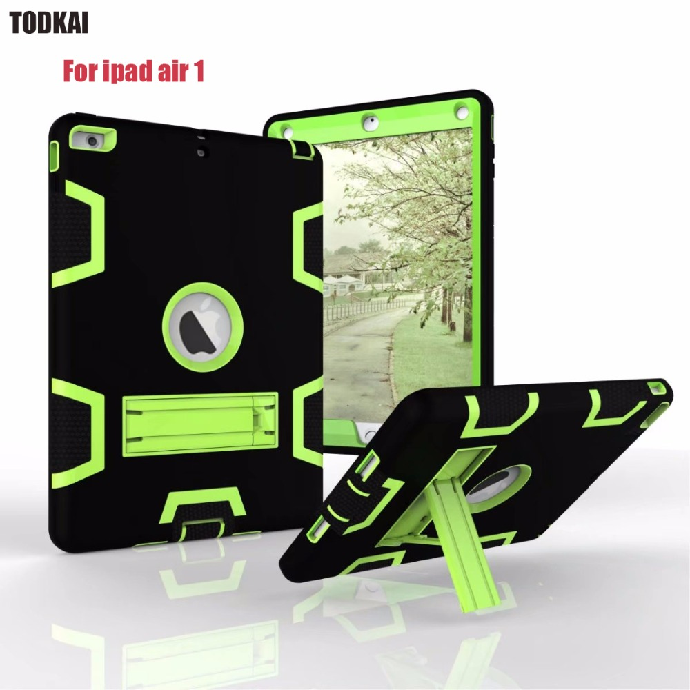 For iPad Air 1 Hybrid Armor Case Kids Safe Shockproof Heavy Duty Silicone Rubber Hard Case Cover +stylus pen