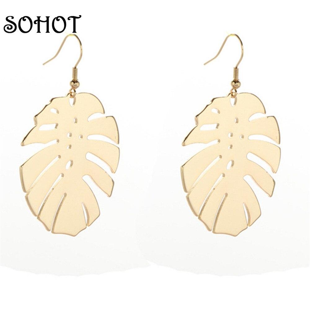 SOHOT Trendy Punk Style Monstera Leaf Drop Earrings Hyperbole Gold Color Hollow Plant Shape Beach Jewelry Bijoux For Women Gift