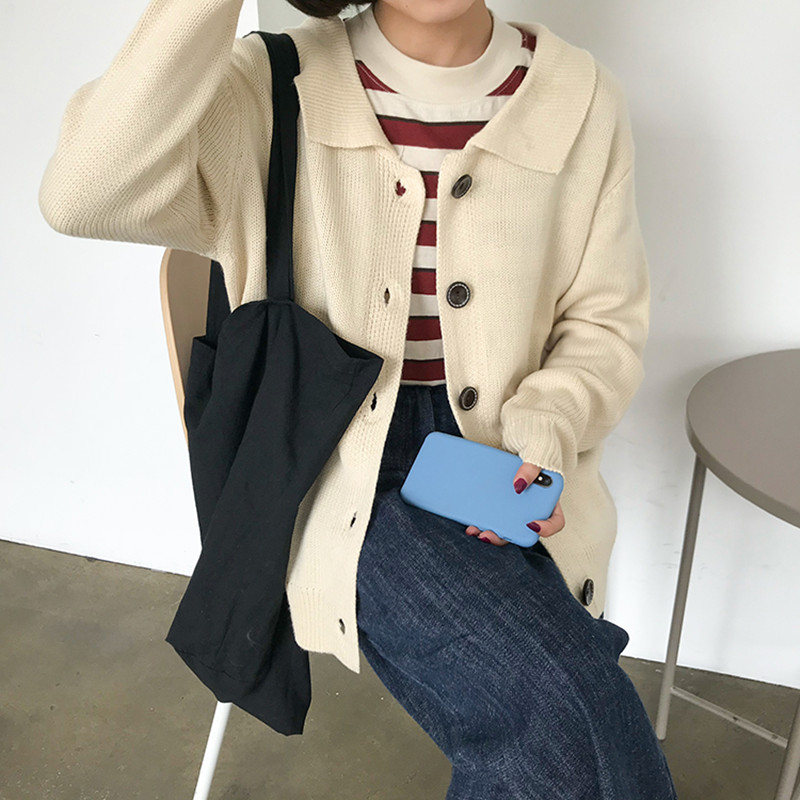 3 Colors Korean Cardigan Women 2018 Fashion Knitted Sweater Female Oversized Tops Casual Coat Winter  (F1312