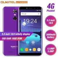 Oukitel C8 4G, мобильный телефон с функцией 5,5 ''HD 18:9 Экран 2 Гб Оперативная память 16 Гб Встроенная память 4 ядра 13MP + 5MP Android 7,0 Touch ID смартфон