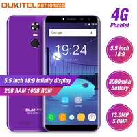 Oukitel C8 4G Mobile Phone 5.5'' 18:9 HD Screen 2GB RAM 16GB ROM Quad Core 13MP+5MP Android 7.0 Touch ID Smartphone