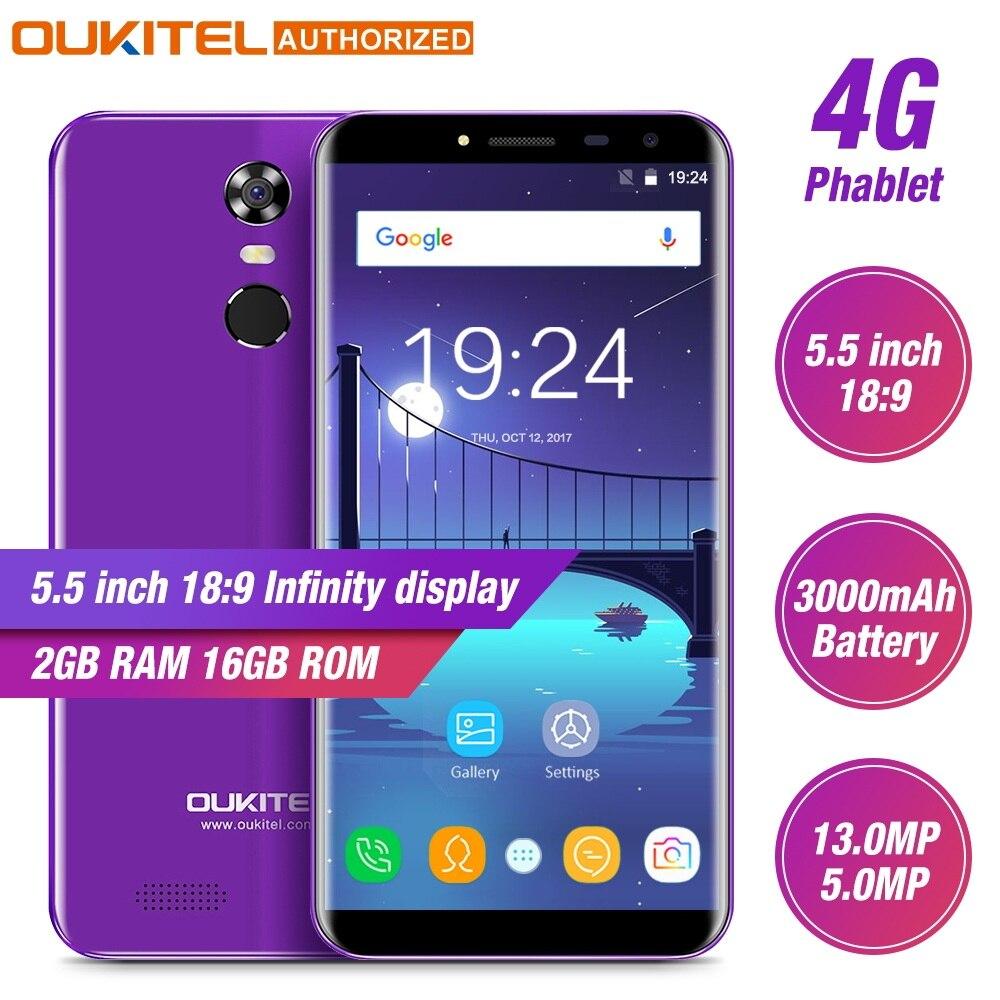 Téléphone portable Oukitel C8 4G 5.5 ''18:9 écran HD 2 go de RAM 16 go ROM Quad Core 13MP + 5MP Android 7.0 Smartphone tactile