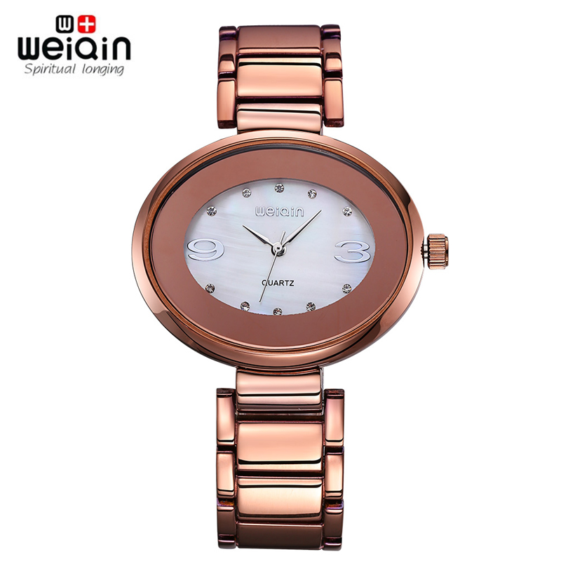 WEIQIN New Design Style Oval Dial Steel Watches Women Fashion Quartz RhinestoneLady Bracelet Arabic Numerals Dress Wristwatch weiqin new 100