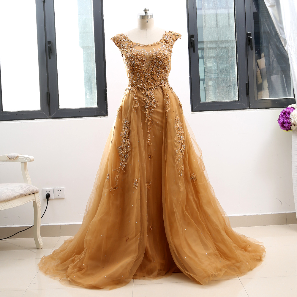 MACloth Gold A-Line O Neck Floor-Length Long Crystal Tulle   Prom     Dresses     Dress   XXL 264256 Clearance