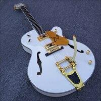 Mais recente Personalizado, Jazz branco Guitarra Elétrica, Guitarra Bigsby e hardware de ouro, Semi Corpo Oco Guitarra Archtop, livre grátis! 20 dias para construir
