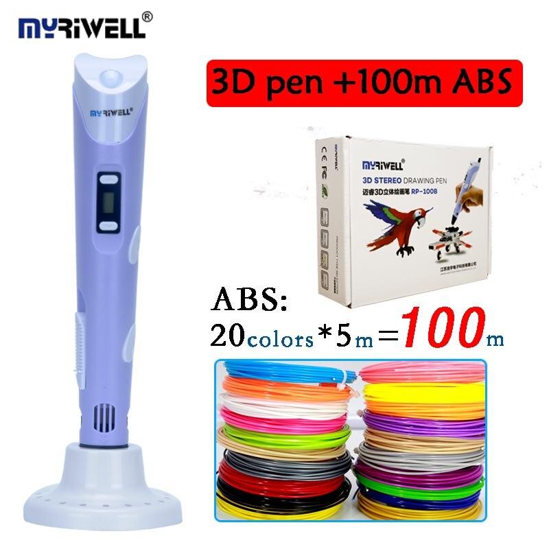 Myriwell 2nd 3D Doodler ручка низкая-тепло, BPA-бесплатно для принятия каракули Arts & Crafts с несколькими Цвет ABS нити (20 видов цветов * 5 м)