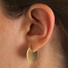 Punk Simple Coin Disc Stud Earrings for Women Geometric 925 silver needle Earrings Gold/Silver Color earings fashion jewelry Z4(China)