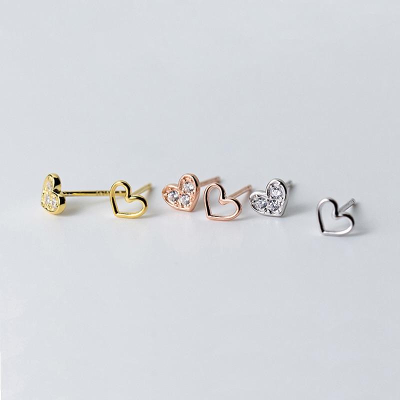 Ruifan 925-Sterling-Silver Earrings Crystal Women Cute Heart for Girls Korean Small Stud