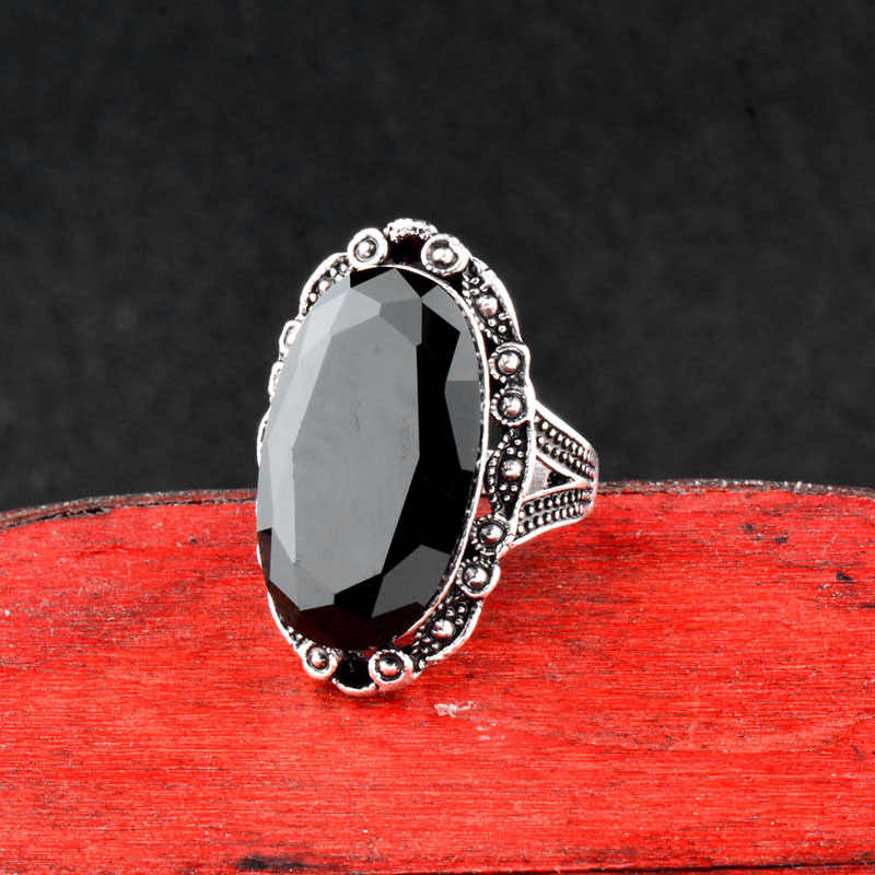 SINLEERY Vintage Big สีดำรูปไข่แหวนสตรีขนาด 6 7 8 9 10 สีเงินโบราณเครื่องประดับ Anel jz516 SSC
