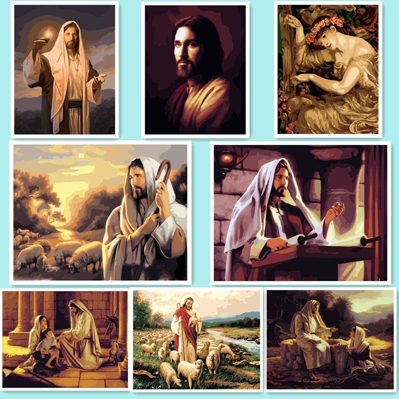 Cuadro en la pared pintura acrílica por números dibujo abstracto por números pintura de regalo único por números Jesús religión QW542