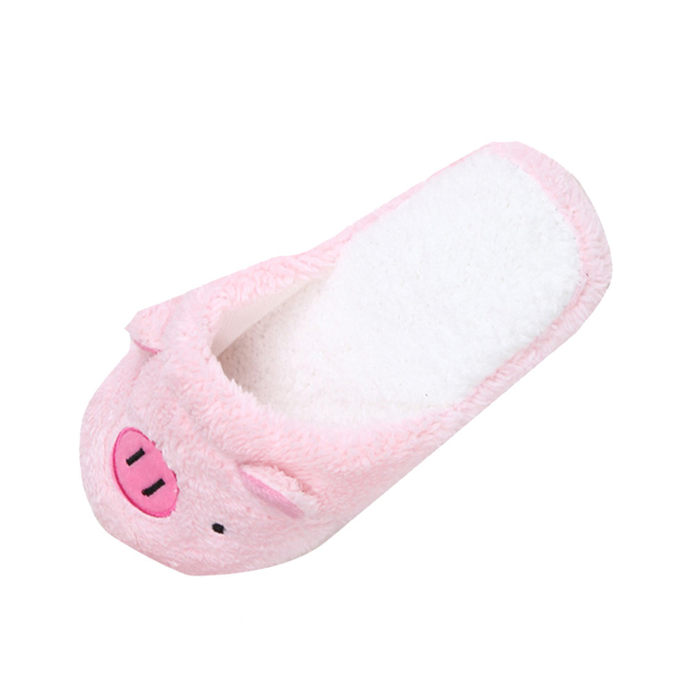 Home Floor Soft Striped Slippers New Cute Women's Flip-Flops 2018 Cute Pig Shape Women's Shoes Girls Winter Spring Warm Shoes цена 2017