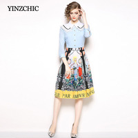 New Spring Womans Printed Dress Turn Down Collar Female Casual Midi Dresses Lace Patched A Line Elegant Dress For Office Lady