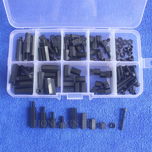 120pcs M3 black Nylon Hex Spacers Screw Nut Assortment Kit Stand off Accessories Set clos 25mm body length 20 pcs screw pcb stand off spacer hex m3 male x m3 female brass hex spacers screw nut promotion wholesale