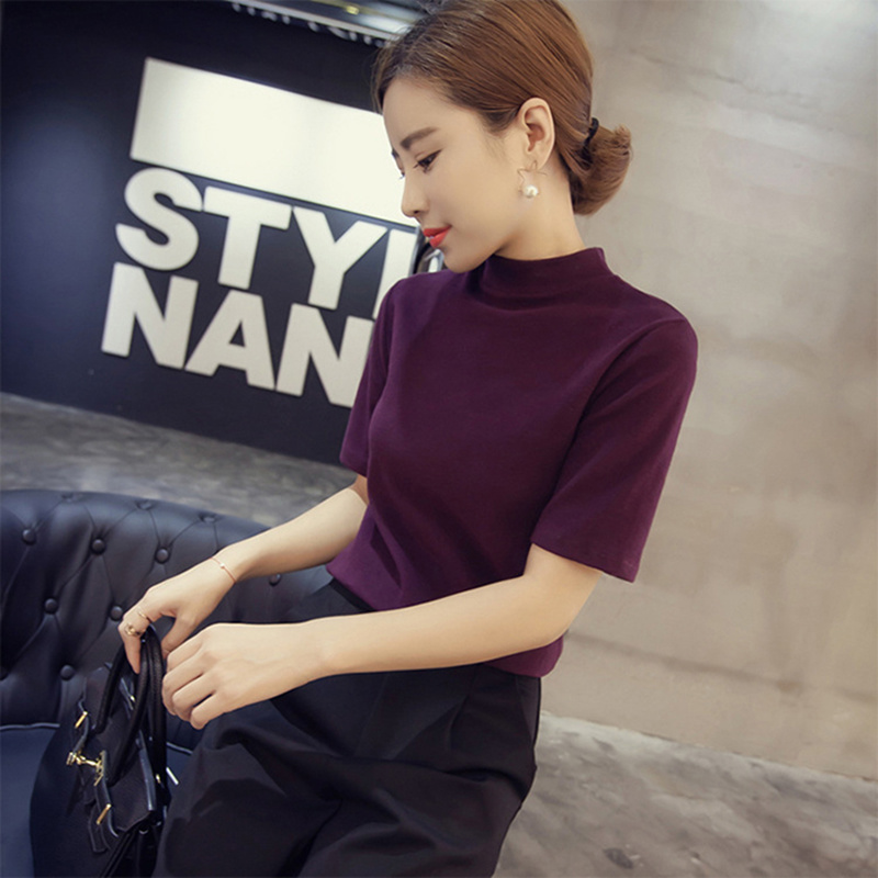 Korean Design Half Sleeve Slim Womens Sweater Solid Fashion Knitted Turtleneck Pullover Woman Solid Pullovers and Sweaters E029