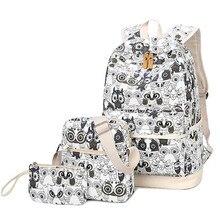 3 pçs/set Animais Coruja Impressão Mochila Feminina Mochila Senhora Mochila de Lona Saco de Livro Schoolbag Bagpack Laptop para Adolescentes