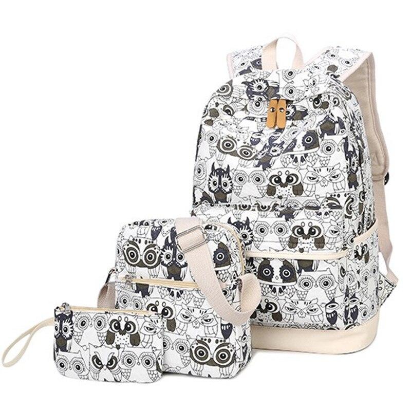 3pcs/set Backpack Female Animal Owl Printing Backpack Canvas Book Bag Schoolbag Laptop Bagpack For Teenage Lady Mochila