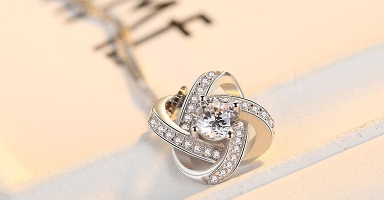 DIEERLAN 19 Bridal Jewelry Sets 925 Sterling Silver Crystal Cross Clover Flower Necklaces for Women Wedding Jewelry Bijoux 5