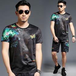 Яркая Цветочная модная повседневная футболка с принтом бабочки и шорты, костюм Лето 2018, новые качественные мягкие дышащие мужские короткие
