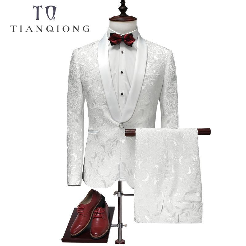 TIAN QIONG Suit Men 2018 Latest Coat Pant Designs White Wedding Tuxedos For Men Slim Fit Mens Printed Suits Brand Men Clothing