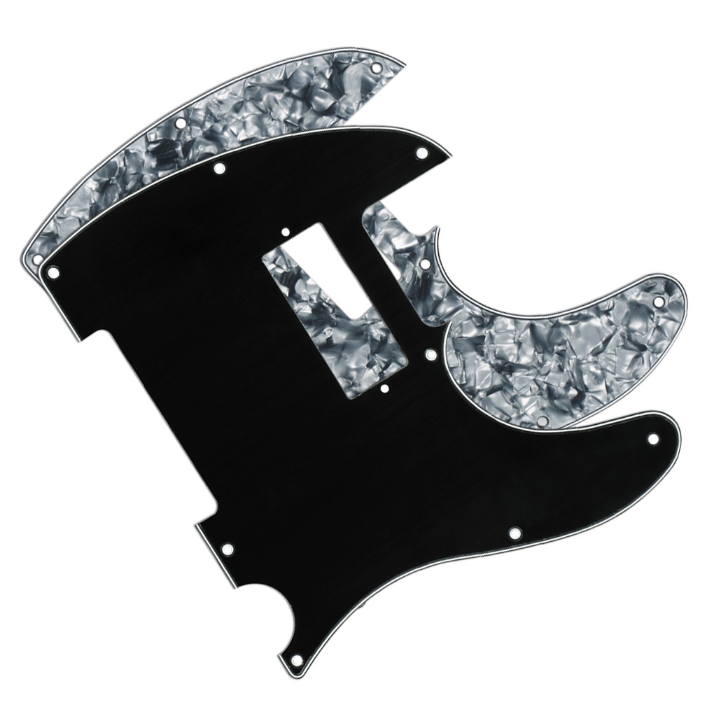 2PCS Black 3Ply/ Grey Pearl 4Ply Pickguards MINI Humbucker Pickguards for Tele Guitar