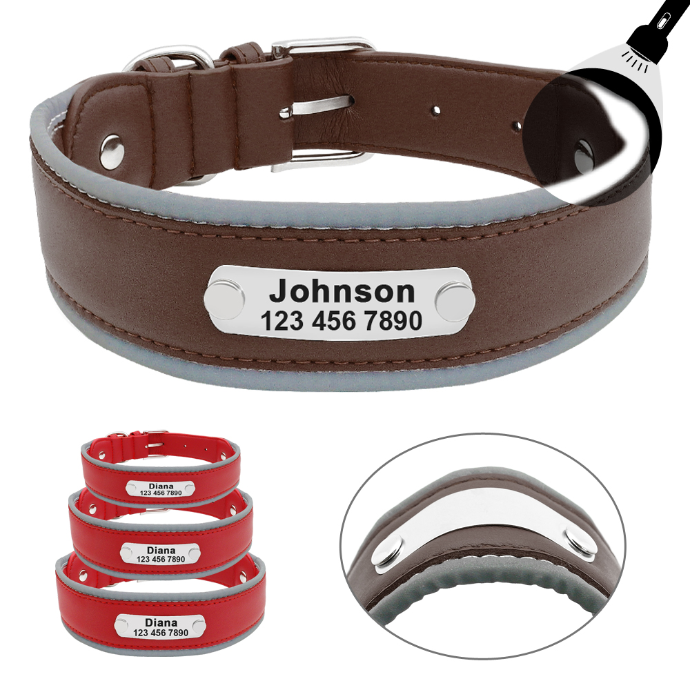 Reflective Large Dog Collar Leather Personalized Pet Dog Collars Coleira Para Cachorro For Big Pit Bull Dogs German Shepherd