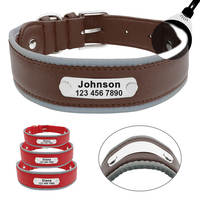 Reflective Large Dog Collar Leather Personalized Pet Dog Collars coleira para cachorro