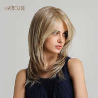 Haircube 16 Inch Natural Wave Synthetic Wig with Bangs Light Brown Mixed Color Cospaly Costume Women Wigs for Black/White Lady