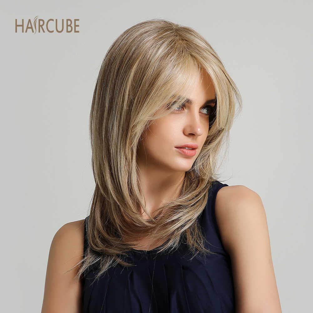 Haircube 16 Inch Natuurlijke Golf Synthetische Pruik Met Pony Lichtbruin Gemengde Kleur Cospaly Kostuum Vrouwen Pruiken Voor Zwart/witte Dame