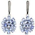 Gorgeous Rich Blue Violet Tanzanite, White Cz SheCrown Woman's Wedding Created Silver Earrings 48x21mm