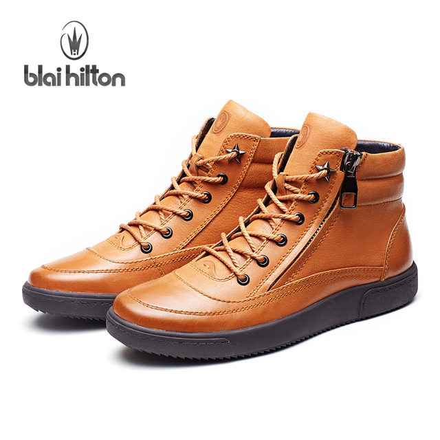 Blaibilton New Autumn Winter 100% Luxury Genuine Cow Leather fashion Western Boots Men Shoes Warm Fur Mens Ankle Boot Motorcycle