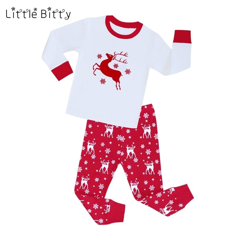 Немного неровный Рождество животных Олень укладки пижамы Детские пижамы с длинными  рукавами для маленьких девочек пижама для мальчиков детские осенние ... dfbf991fe73e0