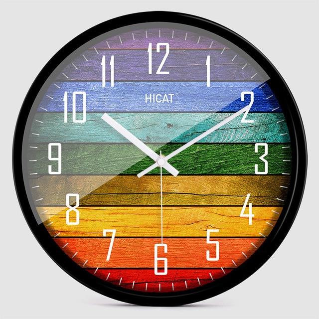 European creative wooden large mute wall clock modern living room personality bedroom quartz clock