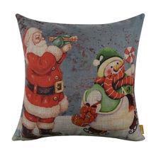 "LINKWELL 18x18"" Merry Christmas Gift Rusted Blue Santa Claus and Snowman Burlap Cushion Cover Pillowcase Season Decoration"