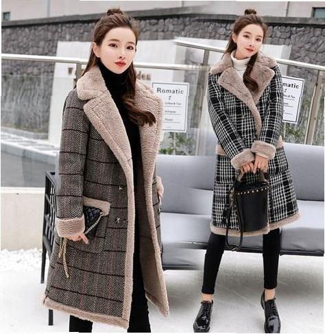 Women Winter Autumn Long Plaid Woolen Coat Cashmere Overcoat Warm Thick Clothes