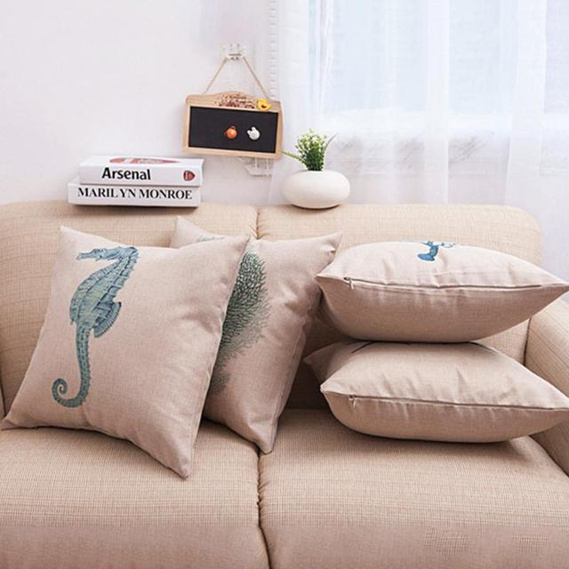 Fashion  Elegant Style 45CM*45CM Decorative Sea Animal Cushion Cover Linen Cotton Fabric Throw Pillow Case On Sofa Home Decor