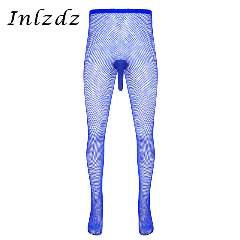 Mens Pantyhose Open/Closed Penis Sheath Design Closed Toes Fishnet Stretchy Pantyhose Tights Hosiery Legging Pant Underwear