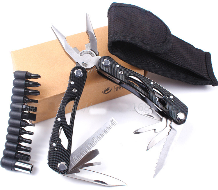 Desain baru WORKPRO 15 in 1 Premium Pocket Multitool Dengan Sheath Knife Tang Saw Obeng Gunting alat luar