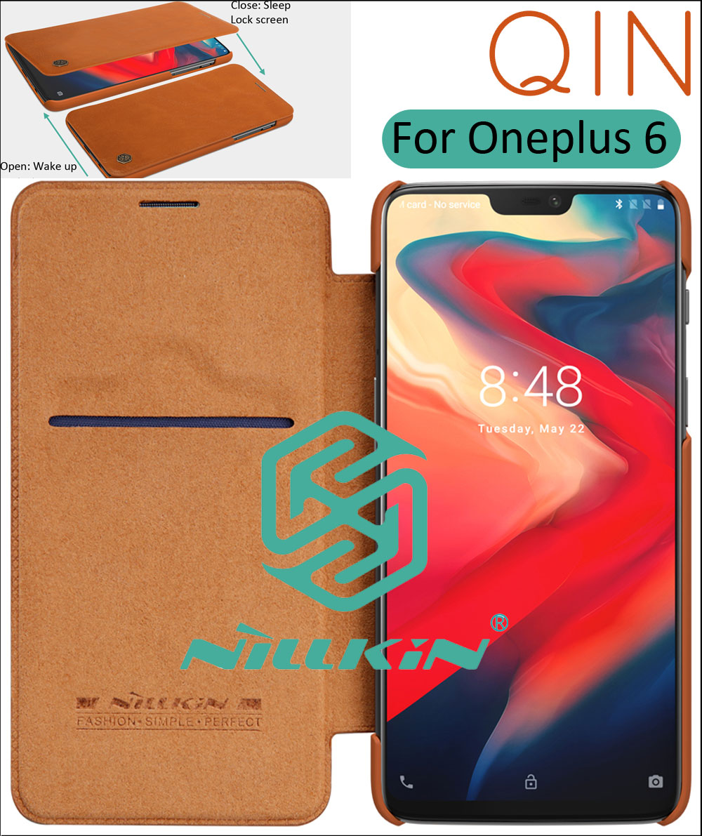 Nillkin Qin Flip Leather Case Cover For Oneplus 6 Smart Sleep Wake up Lock Screen