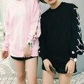 Nova Chegada 2016 Mulheres Da Moda Pulôveres Marca Solto High Street Manga Comprida Com Capuz Com Cordão Manga Longa Sólida Camisolas