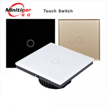 Touch switch,EU standard touch switch 1 class 1 black touch screen wall switch,Intelligent home remote control switch